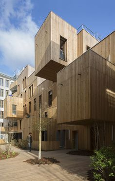 Wood Architecture Social Housing in Paris / Hero in Wood – Architecture and Architects – N … Social Housing Architecture, Timber Architecture, Modern Architecture Design, Sustainable Architecture, Residential Architecture, Wooden Facade, Interior Exterior, Minimalist House, Dormitory