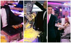 Ice sculpture and appetizers for wedding cocktail hour. Found on Modern Jewish Wedding Blog. Wedding Reception Appetizers, Mini Burgers, Wedding Blog, Catering, Food Porn, Cocktails, Ice, Sculpture, Modern