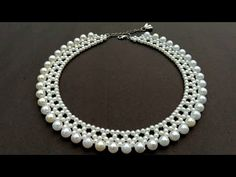 How To Make Pearl Necklace//Designer Necklace// Useful & Easy - YouTube Pearl Necklace Designs, Dainty Diamond Necklace, Pearl Necklace Wedding, Bridal Necklace, Wedding Jewelry, Diamond Earrings, Helix Earrings, Wedding Gold, Wedding Rings