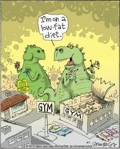 Watch out!   Read The Flying McCoys #comics @ www.gocomics.com/theflyingmccoys/2015/04/01?utm_source=pinterest&utm_medium=socialmarketing&utm_campaign=social-pin   #GoComics #webcomic #dinosaur