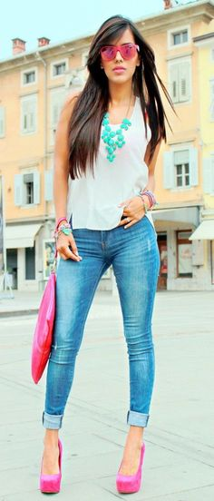 summer outfits  White Tank + Ripped Skinny Jeans + Pink Pumps
