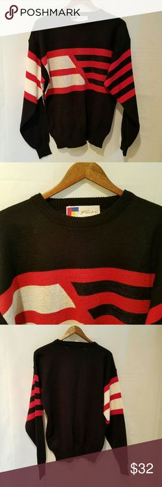 SALE Forte Men's Ski Sweater This is a Forte black, red and white striped long sleeve crewneck sweater.  Wear on the slopes, as casual wear with jeans or out to dinner with black slacks.  EUC ebix1 Forte Sweaters Crewneck