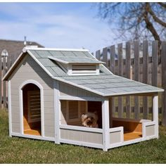 I would love to have a small yard one day so we can build a purple dog house for our Bella. But she is only 10 lbs so this is a lot of house for a lil dog....    Not for dogs being kept outside but for dogs with doggie door, as a portal to the house, or while playing outside - great ideas!