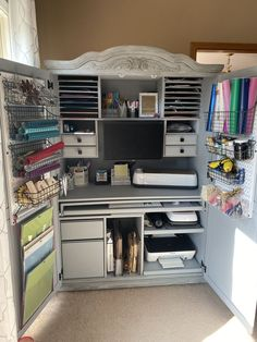 We are in the process of remodeling our home office, and with that, my desk space in the office no longer exists (Hubs works at home full time so it made more s… Craft Armoire, Craft Cabinet, Craft Room Storage, Room Organization, Craft Desk, Armoires Diy, Computer Armoire, Craft Room Design, Apartment Makeover