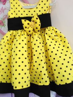 yellow and black Frocks For Girls, Dresses Kids Girl, Little Dresses, Kids Outfits, Baby Girl Dress Patterns, Baby Dress Design, Baby Clothes Patterns, Baby Frocks Designs, Kids Frocks Design