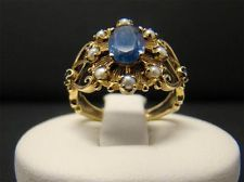 SOLID 10K YELLOW GOLD RING OVAL BLUE SAPPHIRE SEED PEARL ACCENTS 2.9g SIZE 6.5