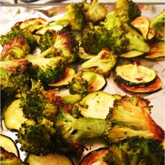 Roasted broccoli and zucchini. Preheat oven to 375. Chop broccoli up and Slice zucchini into thin rounds. In a bowl add veggies and drizzle with extra virgin olive oil, red wine vinegar, salt and fresh pepper. Mix and spread onto a foil lined cookie sheet. Bake for 25 minutes. Delicious!