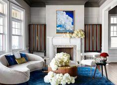 Latest Home Design & Decor Ideas –Interior Decorating Photos Layout Design, Gebogenes Sofa, Plans Loft, Curved Sofa, Higher Design, Elle Decor, Custom Furniture, Velvet Furniture, Interiores Design