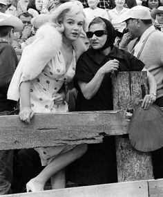 """""""Marilyn Monroe and Paula Strasberg photographed by Ernst Haas during the shooting of The Misfits (1961). """""""