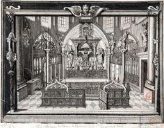 La châsse de sainte Geneviève au dessus du maître-autel de l'église abbatiale