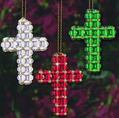 Design Works Craft Ornament Beaded Kit - Christmas Crosses Preview