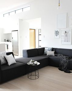 We are getting so much enjoyment out of our new Carmo sofa from BoConcept . After an initial play around with the different configurations. Living Room Sofa Design, Living Room Decor Cozy, Home Room Design, Home Interior Design, Living Spaces, Interior Designing, Boconcept, Black And White Living Room Decor, Monochrome Interior
