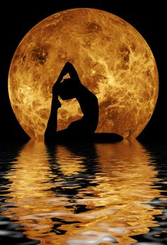 """Stock Photo of """"Yoga in front of moon"""""""