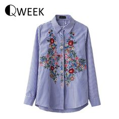 European ZA Blouse Women tops Striped Embroidery Long Sleeve Turn-down Collar Blouse Flower Shirts Women Blouse Cute