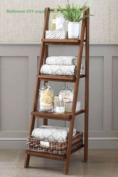 - 24 Genius DIY Organization Hacks You Need to Try to Make Your Small Bathroom Bigger – Simple Life of a Lady Love this ladder for vertical storage in the bathroom! Read the article for more bathroom organization hacks that are truly inspiring! Organizing Hacks, Organisation Hacks, Diy Organization, Hacks Diy, Diy Furniture Renovation, Diy Furniture Hacks, Furniture Legs, Garden Furniture, Furniture Design
