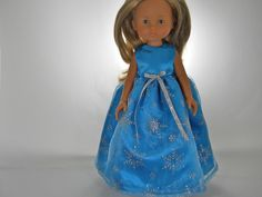 Designed to fit dolls such as Corolle Les Cheries 13 inch doll clothes, Turquoise Snowflake Dress, 10-0577 by thesewingshed on Etsy