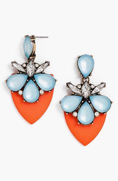How great do these colors together? Trying to find a necklace now... BaubleBar 'Persimmon' Drop Earrings available at #Nordstrom