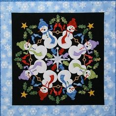 Silly Snowmen #8 In The Circle Of Friends Series Applique Pattern By The Quilted Lizard , Snowman & Angel Applique Patterns | Quilterswarehouse