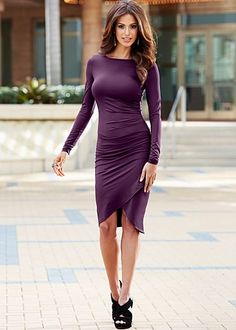 """venus.com/ Dark Purple (DEPU) Surplice Hem Dress $22  Wear your surplice as you never have before! ·  Ruched at side seams   ·  24"""" in length from natural waist   ·  Poly/elastane   ·  Imported  · Style #Z38709 Orig. $39 SALE $22"""