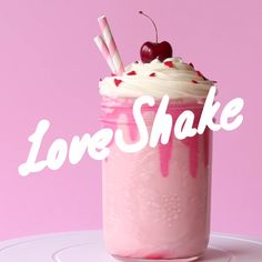 Strawberry Milkshake with white chocolate ganache, perfect for two!