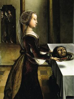 Juan de Flandes (Dutch), Salome with the Head of John the Baptist, oil on panel belonged to an altar dedicated to the history of John the Baptist, which was written in 1496 for the Carthusian Monastery of Miraflores near Burgos.