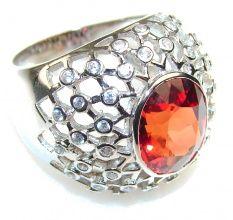 Love Secret!! Red Quartz Sterling Silver Ring s. 7 1/4
