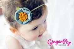 Felt Flower Headband - 100% Wool Felt Soft Green Poppy Headband - Newborn, Toddler, Adult