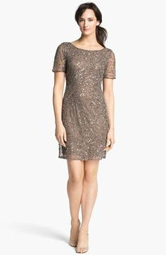Mother of the bride/groom  Pisarro Nights Beaded Back Drape Shift Dress available at #Nordstrom