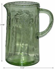 "Hocking Cameo ""Ballerina"" Green Depression Glass Scarce Milk Pitcher Jug | eBay"