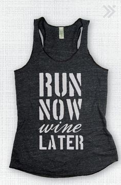 Charcoal/White Run Now Wine Later  Eco Tank