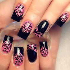 Pink Base.  Black Tips.  And Black stamper. Reverse on ring fingers.