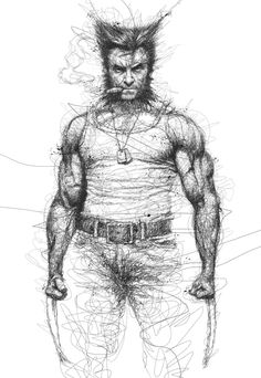 wolverine Incredible Scribbled Pencil Drawings of Musicians & Super Heroes