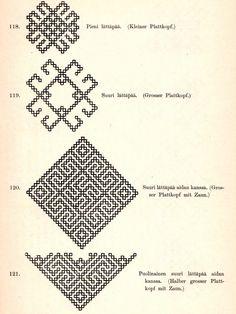 Suomalaisia ompelukoristeita: lättäpäät-kuviomalleja