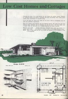 America's guide to family homes, 957 ed. by Homograf Co. Vintage House Plans, Small House Plans, House Floor Plans, Family Homes, Home And Family, Basement Bedrooms, Bedroom Layouts, Prefab Homes, Mid Century House
