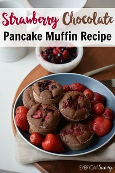 This yummy pancake muffins recipe is irresistible with fresh strawberries and chocolate. It looks special but is very easy to make. Older kids can make them by themselves and younger kids can easily help. This recipe is great for brunch, a shower, any bre
