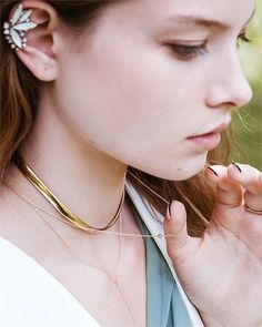 Laurie Fleming Jewellery AW15 lookbook - reversible Vale Choker layered with the Protea necklace and Protea Lariat