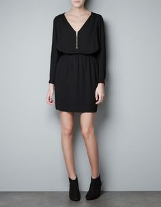 ZIP NECK DRESS - Dresses - Woman - ZARA