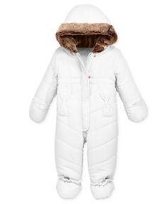 First Impressions Baby Girls' Quilted Snowsuit with Faux Fur Trim, Only at Macy's