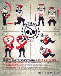 plate workout cirucit: lunge, squats, ribbons, russian twists