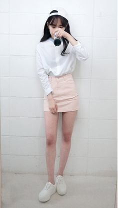 Gonna do this: white button up w/ a colored denim mini skirt.