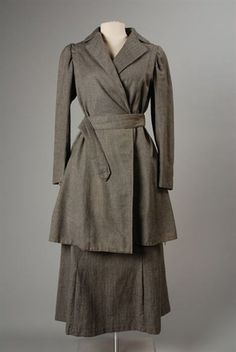 Two-piece dress or suit of gray wool twill, 1917.