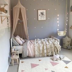 Such a stunning little girls room put together by @mamabirdlife Beautiful neutral color combination of greys, soft pinks and golds. Thank you for including our mini dots on your accent wall