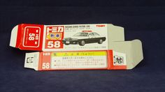 TOMICA 058E NISSAN CEDRIC Y34 POLICE   1/63   ORIGINAL BOX ONLY   ST9 1999 CHINA Diecast, Nissan, Police, Auction, China, The Originals, Tomy, Law Enforcement, Porcelain