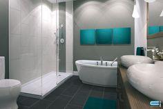 Salle de bain avec douche vitrée, accent décoratifs turquoise et comptoir en bois avec deux évier