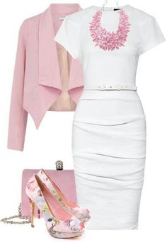 Stylish Work Outfit Ideas for Spring & Summer 2017 of course I also like pink. I like this ensemble. I wouldn't think of wearing a necklace that big, but it does go well with the outfit. I actually like it a lot. Outfits 2016, Mode Outfits, Fashion Outfits, Womens Fashion, Summer Outfits, Dress Outfits, Dress Summer, Dress Fashion, Floral Outfits