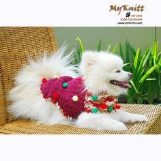 Happy Pomeranian Hand Crocheted Dog Clothes Small Puppy Sweater Pets by myknitt #handmade #diy #dress #dogcoat #wardrobe #animal #pomeranian #alaskan #siberian #husky #dogdress #dogcouture #myknitt #dog #husky #animal