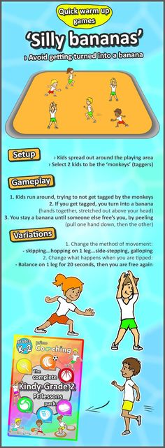 Kindergarten to Grade 2 PE Games Complete Sport Skill and Games Pack 2018 - Fitness Shirts - Ideas of Fitness Shirts - Silly bananas A simple but fun tip and tag warm up game for your kids. Try it out then check out the rest we have! Gym Games For Kids, Exercise For Kids, Fun Games, Kids Fun, Group Kids Games, Story Games For Kids, Simple Games For Kids, Fun Warm Up Games, Warm Up For Kids