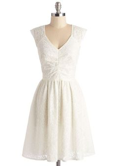 Twirling at Twilight Dress - Party, White, Solid, Lace, Special Occasion, Wedding, Bride, Sleeveless, Woven, Mid-length, A-line
