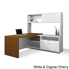 Bestar Pro-Linea L-shaped Desk with Hutch | Overstock.com