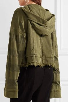 Haider Ackermann - Hooded Twill-trimmed Cotton-jersey Jacket - Army green - x large